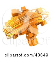 Clipart Illustration Of Rotating 3d Rings Around Orange Cubes
