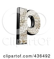 3d Cracked Earth Symbol Lowercase Letter P