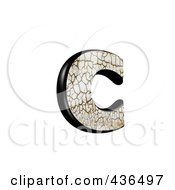 3d Cracked Earth Symbol Lowercase Letter C