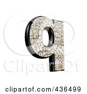Royalty Free RF Clipart Illustration Of A 3d Cracked Earth Symbol Lowercase Letter Q