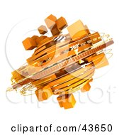 Clipart Illustration Of 3d Rings Around A Spinning Orange Mass Of Cubes