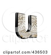 Royalty Free RF Clipart Illustration Of A 3d Cracked Earth Symbol Lowercase Letter U by chrisroll