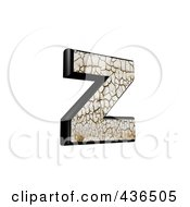 Royalty Free RF Clipart Illustration Of A 3d Cracked Earth Symbol Lowercase Letter Z by chrisroll