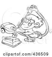 Royalty Free RF Clipart Illustration Of A Line Art Design Of A Happy Boy Using A Vacuum by toonaday