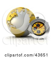 Clipart Illustration Of A 3d Stop Watch Resting Against A Yellow Globe