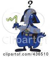 Royalty Free RF Clipart Illustration Of A Confused Vadar Man With A Broken Weapon