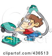 Royalty Free RF Clipart Illustration Of A Happy Boy Using A Vacuum by toonaday