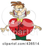 Grinning Cartoon Man With A Be Mine Valentine Heart Body