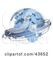 Clipart Illustration Of A Blue 3d Sextant Globe With A Wire Frame