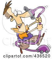 Royalty Free RF Clipart Illustration Of A Cartoon Man With His Nose Stuck In A Vacuum Cleaner by toonaday