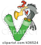 Royalty Free RF Clipart Illustration Of A Vulture Perched On A Letter V Cactus
