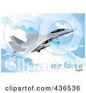 Royalty Free RF Clipart Illustration Of An Air Force Jet 1