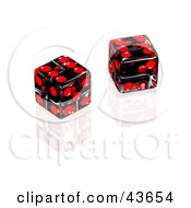 Two Black And Red Dice On A Reflective White Surface