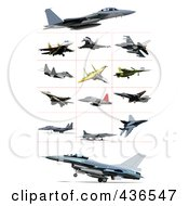 Royalty Free RF Clipart Illustration Of A Digital Collage Of Jets