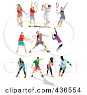 Royalty Free RF Clipart Illustration Of A Digital Collage Of Tennis Players