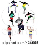Royalty Free RF Clipart Illustration Of A Digital Collage Of Runners by leonid