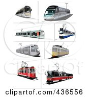 Royalty Free RF Clipart Illustration Of A Digital Collage Of Trams by leonid