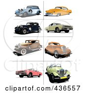 Royalty Free RF Clipart Illustration Of A Digital Collage Of Vintage Cars 2