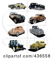 Royalty Free RF Clipart Illustration Of A Digital Collage Of Vintage Cars 1