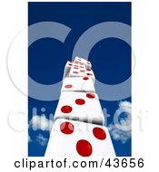 Clipart Illustration Of A 3d Stack Of Red And White Dice Building Up Towards The Sky by stockillustrations