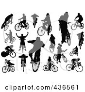 Royalty Free RF Clipart Illustration Of A Digital Collage Of Silhouetted Cyclists