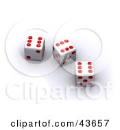 Red And White 3d Dice On White