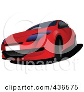 Royalty Free RF Clipart Illustration Of A Red Car