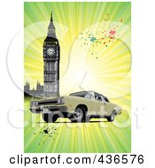 Classic Car Near Big Ben Over Grungy Green Rays