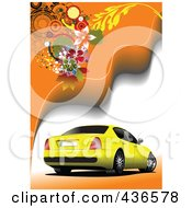 Royalty Free RF Clipart Illustration Of A Yellow Car On Orange Background