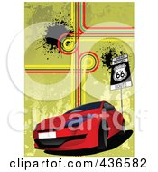 Royalty Free RF Clipart Illustration Of A Red Car And Route 66 Background by leonid