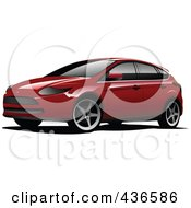 Royalty Free RF Clipart Illustration Of A Red Station Wagon