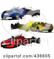 Royalty Free RF Clipart Illustration Of A Digital Collage Of Blue Yellow And Red Car Banners by leonid