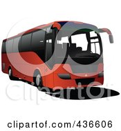 Royalty Free RF Clipart Illustration Of A Red Tourist Coach by leonid