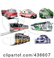 Royalty Free RF Clipart Illustration Of A Digital Collage Of Buses Ambulances Fire Trucks Big Rigs And Trams by leonid