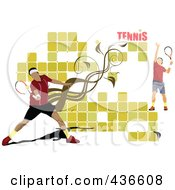 Royalty Free RF Clipart Illustration Of A Male Tennis Player Background 2
