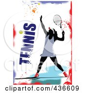 Royalty Free RF Clipart Illustration Of A Female Tennis Player On A Grungy Background With Text