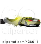 Royalty Free RF Clipart Illustration Of A Yellow Convertible Car Banner by leonid