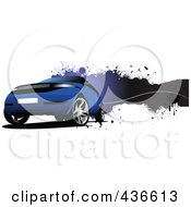 Royalty Free RF Clipart Illustration Of A Blue Car Banner by leonid