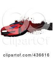 Royalty Free RF Clipart Illustration Of A Red Car Banner by leonid