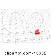 Clipart Illustration Of One Unique Red Pound Sterling Sign Standing Out From A Background Of Rows Of White Dollar Signs by stockillustrations