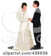 Royalty Free RF Clipart Illustration Of A Bride And Groom 3 by leonid