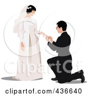 Royalty Free RF Clipart Illustration Of A Bride And Groom 2 by leonid