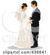 Royalty Free RF Clipart Illustration Of A Bride And Groom 1 by leonid