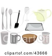 Clipart Illustration Of A Collage Of Kitchen Utensils by mheld