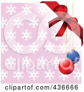 Royalty Free RF Clipart Illustration Of A Red Bow And Baubles Over A Pink Snowflake Background
