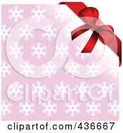Royalty Free RF Clipart Illustration Of A Red Bow Over A Pink Snowflake Background