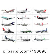 Royalty Free RF Clipart Illustration Of A Digital Collage Of Commercial Airplanes