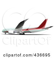 Royalty Free RF Clipart Illustration Of A Commercial Airplane 2
