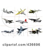 Royalty Free RF Clipart Illustration Of A Digital Collage Of Air Force Jets 1