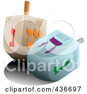 Royalty Free RF Clipart Illustration Of Two Dreidels by leonid